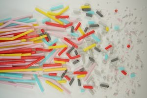 white red yellow and blue plastic straw lot