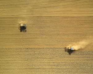 aerial view of two harvesters on brown field