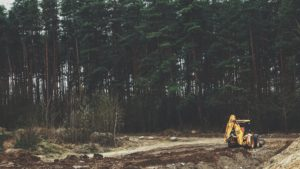 yellow front-loader near trees
